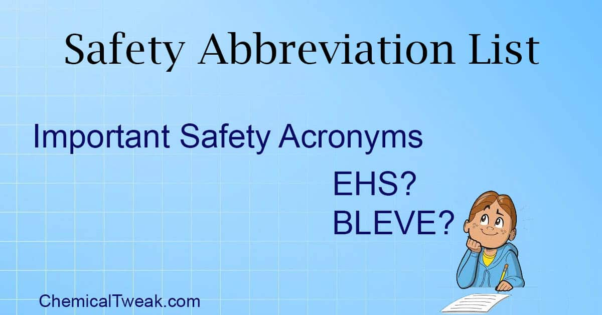 Safety Abbreviation List Acronyms For Safety